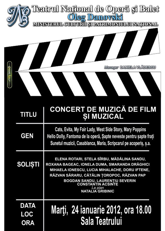 Concert de muzica de film si muzical la TNOB Oleg Danovski