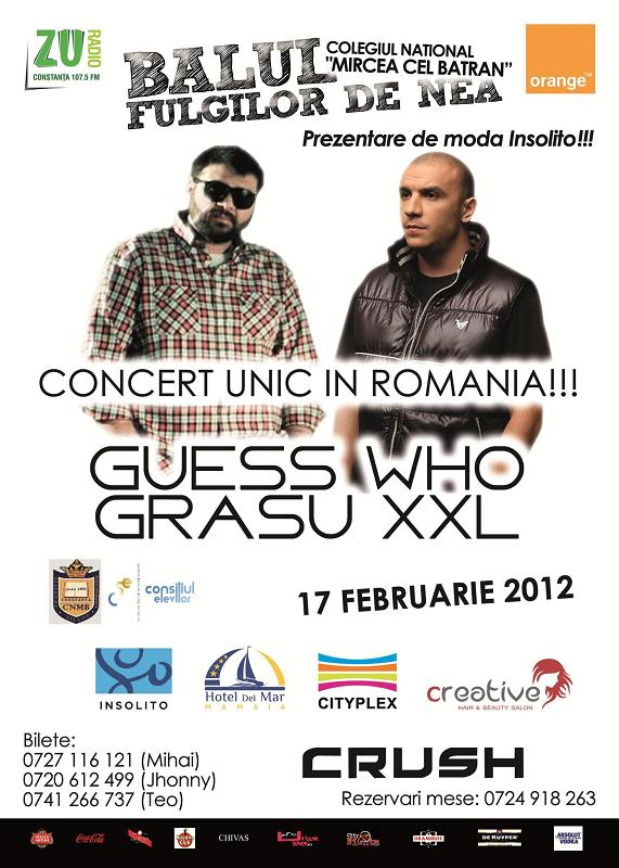 Concert cu band live: Guess Who si Grasu XXL
