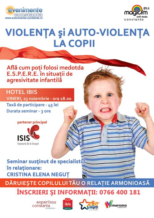 Seminarul VIOLENTA SI AUTO-VIOLENTA LA COPII cu Cristina Negut