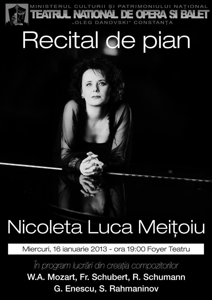 """Recital Nicoleta Luca-Meiţoiu la Teatrul Naţional de Operă şi Balet """"Oleg Danovski"""" Constanţa"""