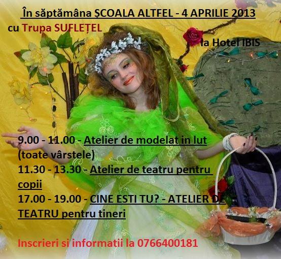 """Ateliere cu Trupa SUFLETEL in Saptamana """"Scoala Altfel"""""""