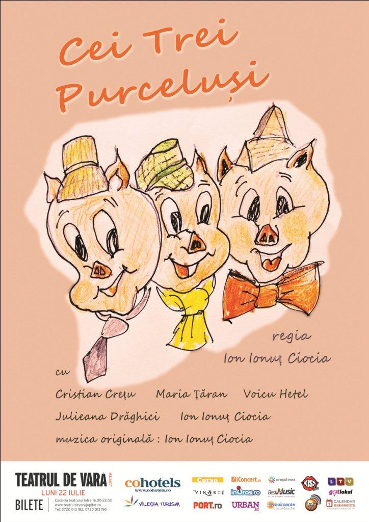"""Teatru pentru copii: """"Cei Trei Purceluși"""" la Teatrul de Vară din Jupiter"""