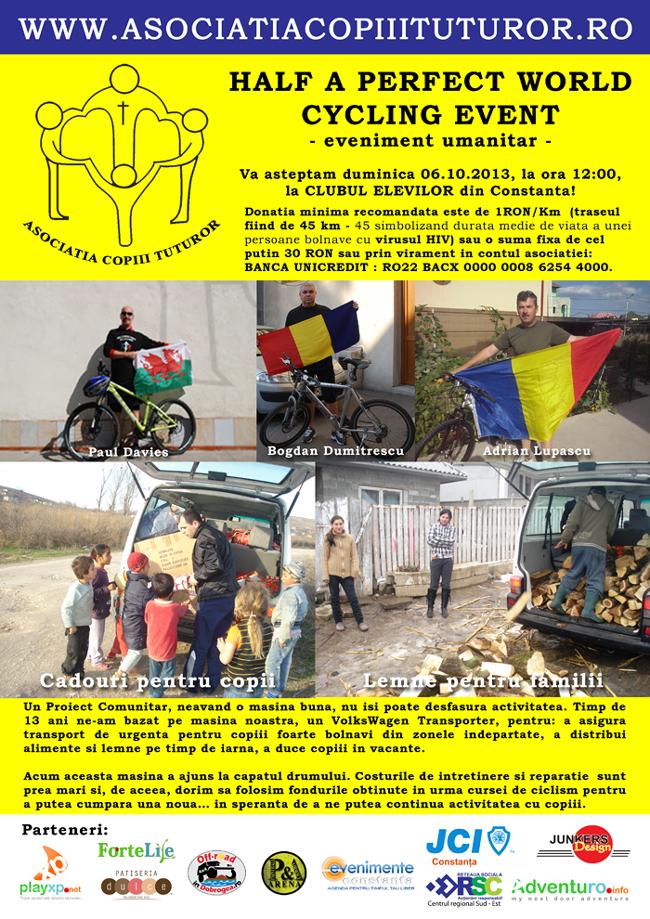 Eveniment umanitar la Constanţa: HALF A PERFECT WORLD Cycling Event