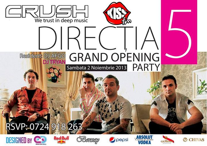 Concert DIRECŢIA 5, în club Crush, la Grand Opening Party!