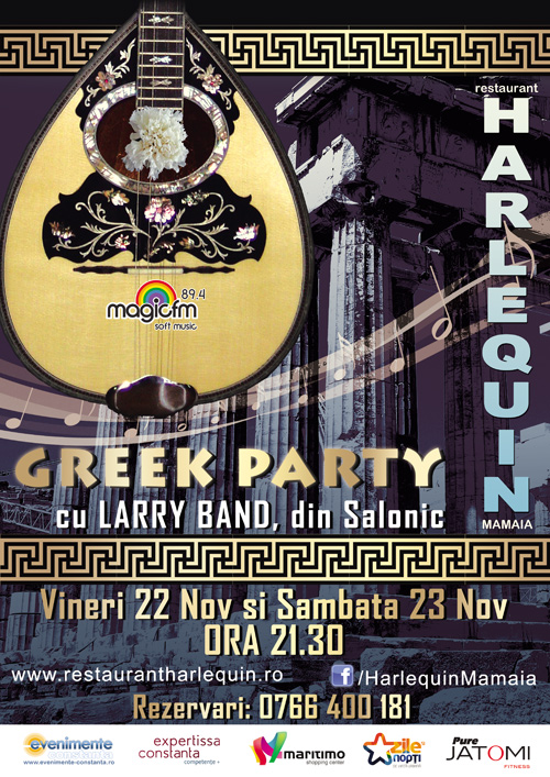 GREEK PARTY cu LARRY Band din Salonic la Harlequin Mamaia