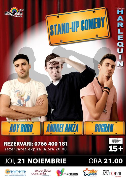 STAND-UP cu Andrei AMZA, Ady BOBO și Bogdan, la Harlequin
