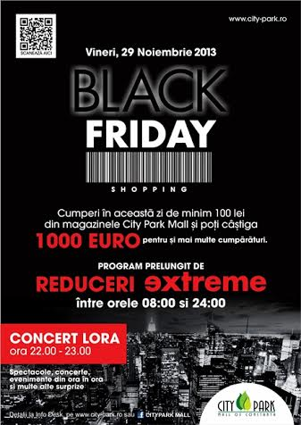 BLACK FRIDAY în CITY PARK MALL Program prelungit de reduceri extreme