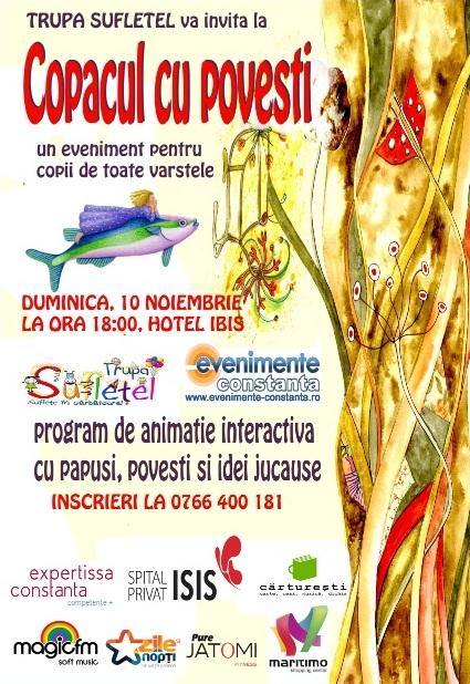 COPACUL CU POVESTI, spectacol interactiv cu Trupa SUFLETEL la Hotel IBIS