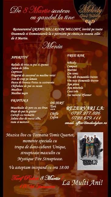 Petrecere dedicată zilei de 8 Martie, la MELODY