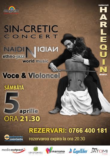 Concert violoncel & voce cu ADRIAN NAIDIN la Harlequin Mamaia