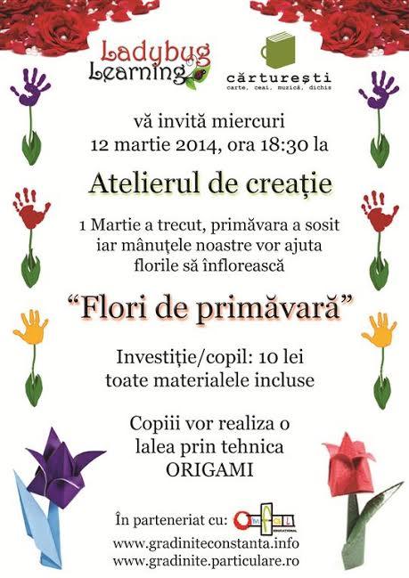 """Atelier de creaţie """"Flori de primavara"""", la Cărtureşti"""