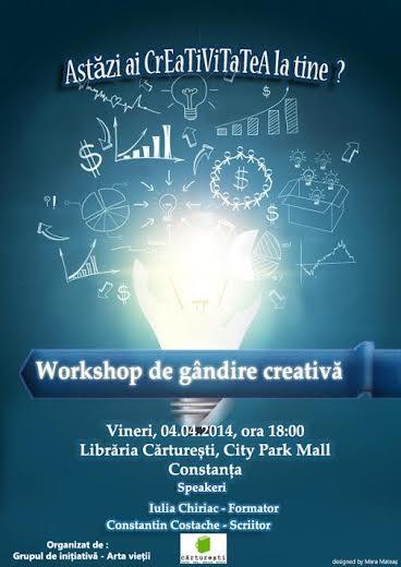"""Workshop de gândire creativă – un eveniment marca """"Arta vietii"""", la Cărtureşti"""