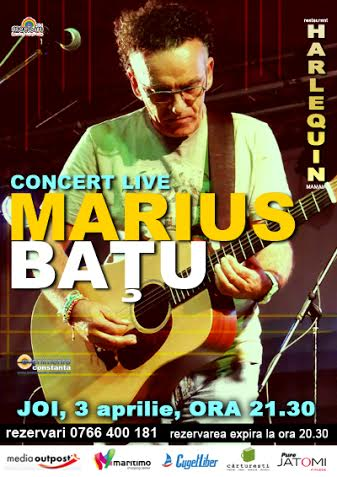 Concert folk cu MARIUS BATU la Harlequin Mamaia