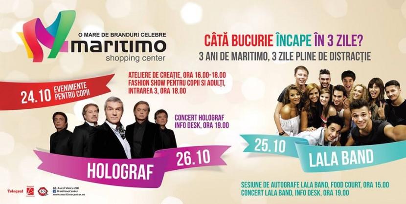 TREI ani de Maritimo Shopping Center, TREI zile de distracție!