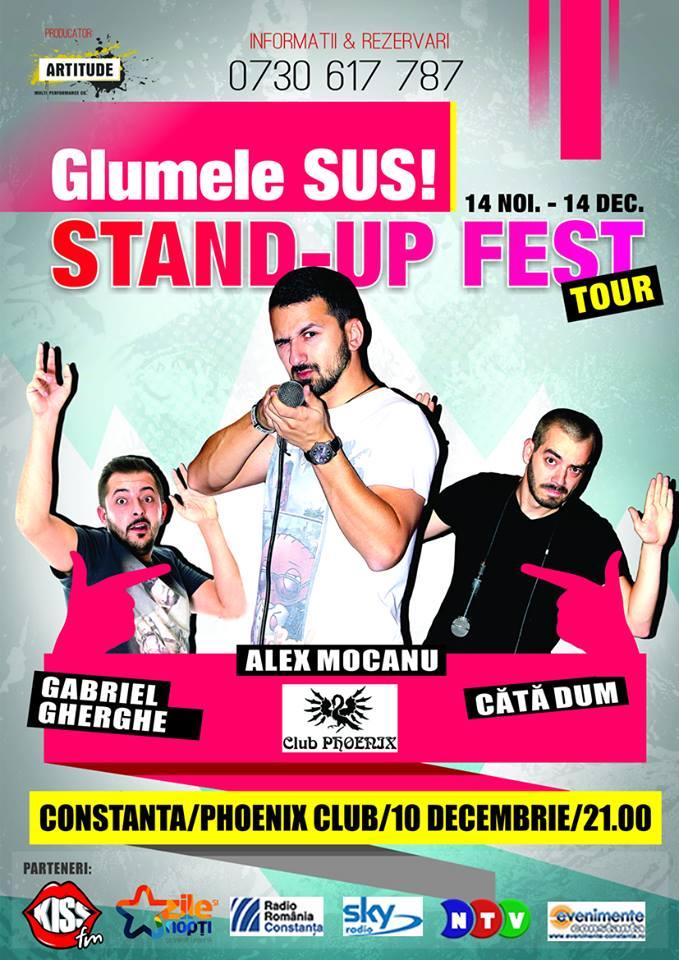 """Stand-up Comedy """"Glumele sus!"""", cu Gabriel Gheorghe, Alex Mocanu și Cătă Dum"""
