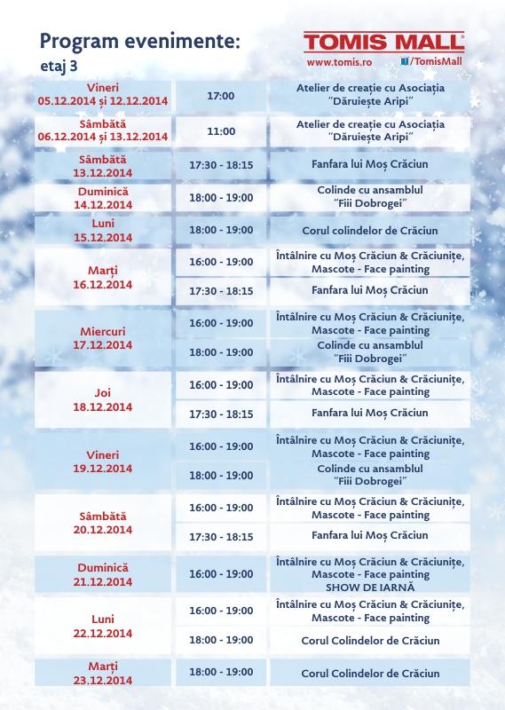 Program evenimente decembrie in Tomis Mall