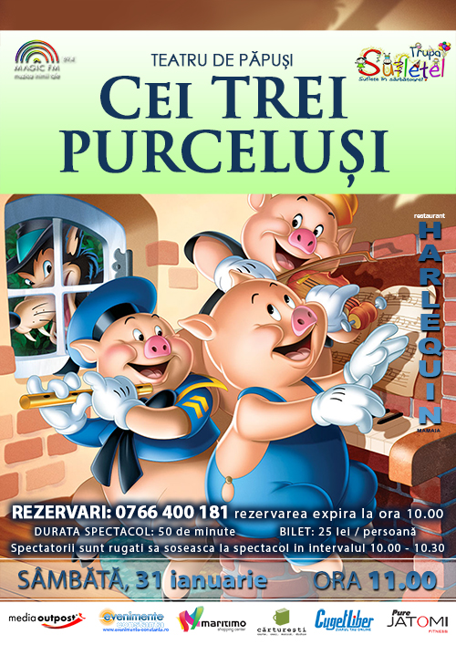 Teatru de papusi: CEI TREI PURCELUSI la Harlequin Mamaia