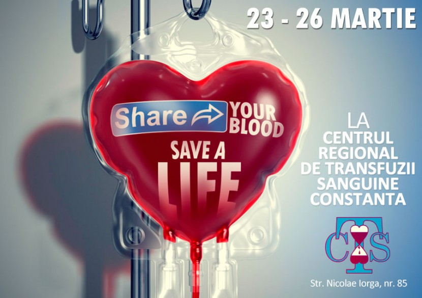 SHARE YOUR BLOOD, SAVE A LIFE! Fii eroul necunoscut al unui om aflat la nevoie