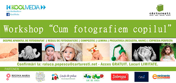 """CUM FOTOGRAFIEM COPILUL"", workshop gratuit la Libraria Carturesti"