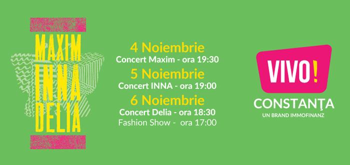 Concerte cu DELIA, INNA şi MAXIM în noul Maritimo, VIVO!