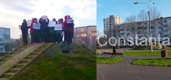 Mai mulţi COPII din Constanţa AU PROTESTAT împotriva demolării locului de joacă