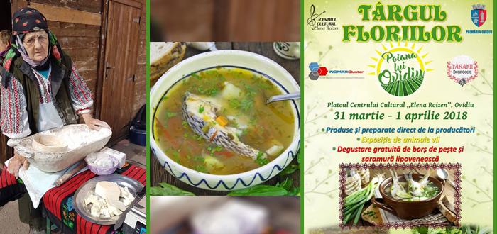 Târgul Floriilor, la Ovidiu. Produse tradiționale de Paște și degustări cu borș de pește și saramură!