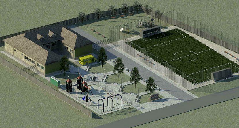 Primăria Ovidiu a început construirea unie noi școli cu teren de sport modern, la Poiana