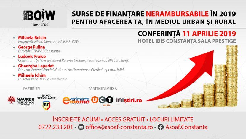 """Conferința """"Surse de Finanțare Nerambursabile în 2019 pentru afacerea ta, în mediul urban și rural"""""""